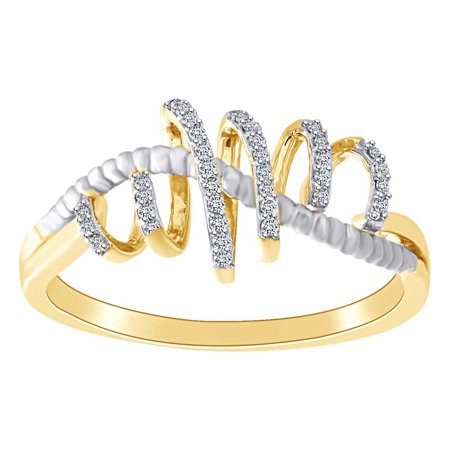 0.08 Cttw Round White Natural Diamond Ribbon Style Ring 10k Solid Yellow Gold Ring Size-5