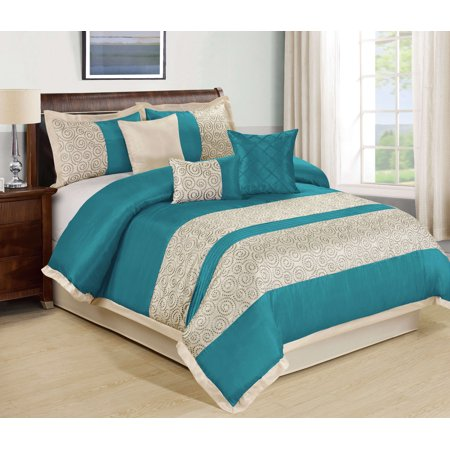 Mallen Home 7 Pieces Embroidery Comforter Set Faux Silk Fabric Scroll Embroidery Queen Teal Color Faux Silk Comforter