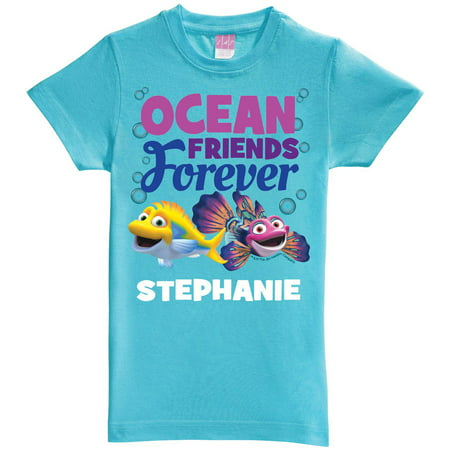 Personalized Splash and Bubbles Friends Forever Aqua Youth Fitted Tee