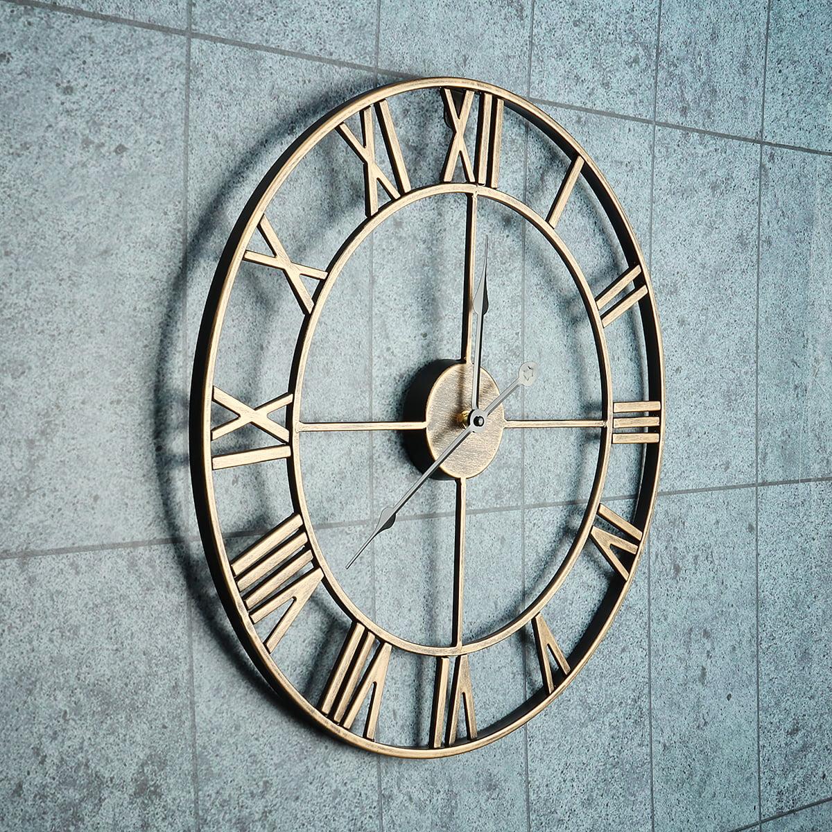 18 5 3d Large Big Wall Clock Non Ticking Luxury Vintage Rustic Retro Metal Wall Decor Decorative Clock Crystal Metal Silent Clock For Living Room Bedroom Office Walmart Com Walmart Com