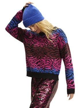 Scoop Women's Ombre Zebra Print Sweater