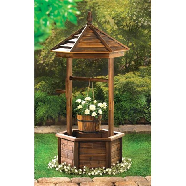 Zingz & Thingz 57070006 Rustic Wishing Well Natural Wood Garden Flower Planter by Zingz & Thingz