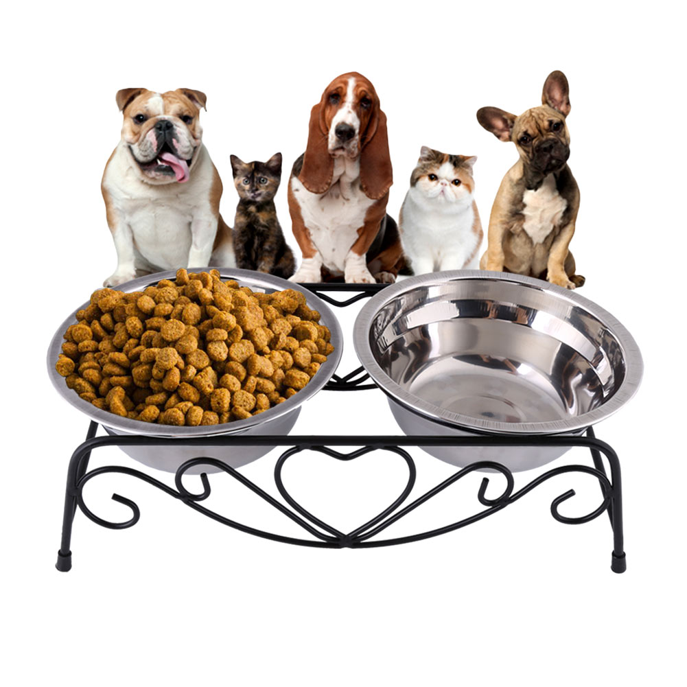 Double Removable Stainless Steel Pet Food Water Bowls with Iron Stand - Raised Dog Feeder - Cat Bowl - Puppy Bowl - Pet