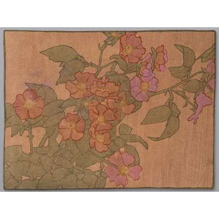 Pink Roses on Terracotta Color Ground Poster Print by Hannah Borger Overbeck