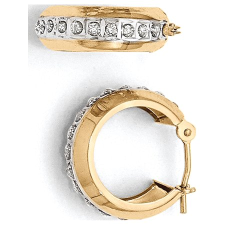 14k Yellow Gold Diamond Fascination Round Huggy Hinged Hoop (5x16mm) Earrings - image 3 of 3