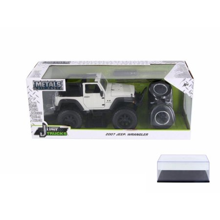 2007 Off Road Models - Diecast Car & Display Case Package - 2007 Jeep Wrangler Off Road, White - Jada 54027/W17 - 1/24 Scale Diecast Model Toy Car w/Display Case