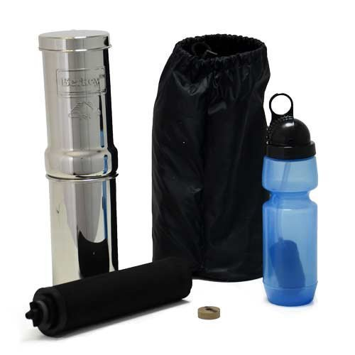 Click here to buy Go Berkey Kit -Includes Stainless Steel Portable Water Filter System with Sport Berkey Water Bottle (Filter included)... by Berkey.