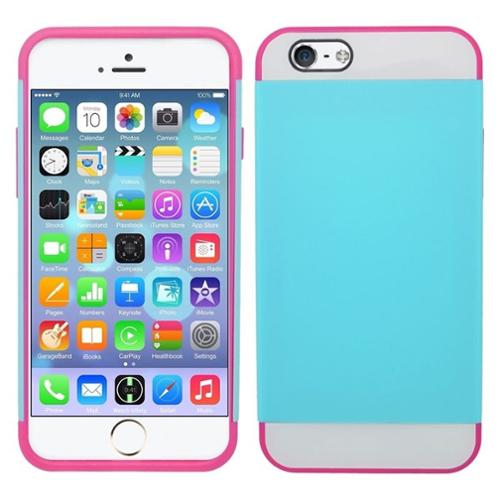 Insten Skin Hybrid Rugged Shockproof Rubber Hard Case For iPhone 6 Plus / 6s Plus - Blue/Hot Pink
