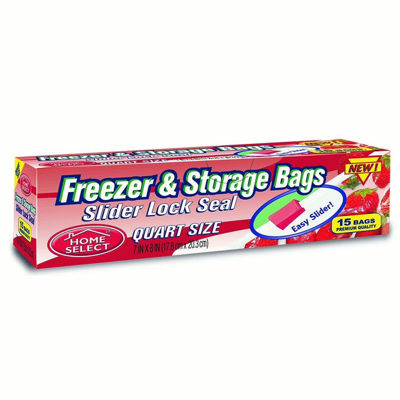 Home Select Freezer & Storage Bags, Slider Lock Seal, Quart Size, 15 Ct