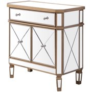"Elegant Decor Contempo 2 Door 32"" Mirrored Accent Cabinet in Antique Gold"
