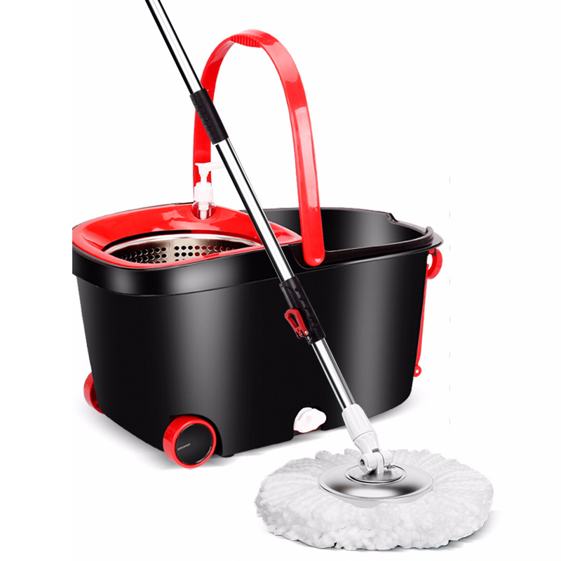 Spin Mop & Bucket Set with 5 Microfiber Mop, Trailer Design - Easy Wring Spinning Mop, Indoor and Kitchen Floor Cleaning - Stainless Steel Rotating Bucket, Plastic Tray, Stretch Pole, Black And Red