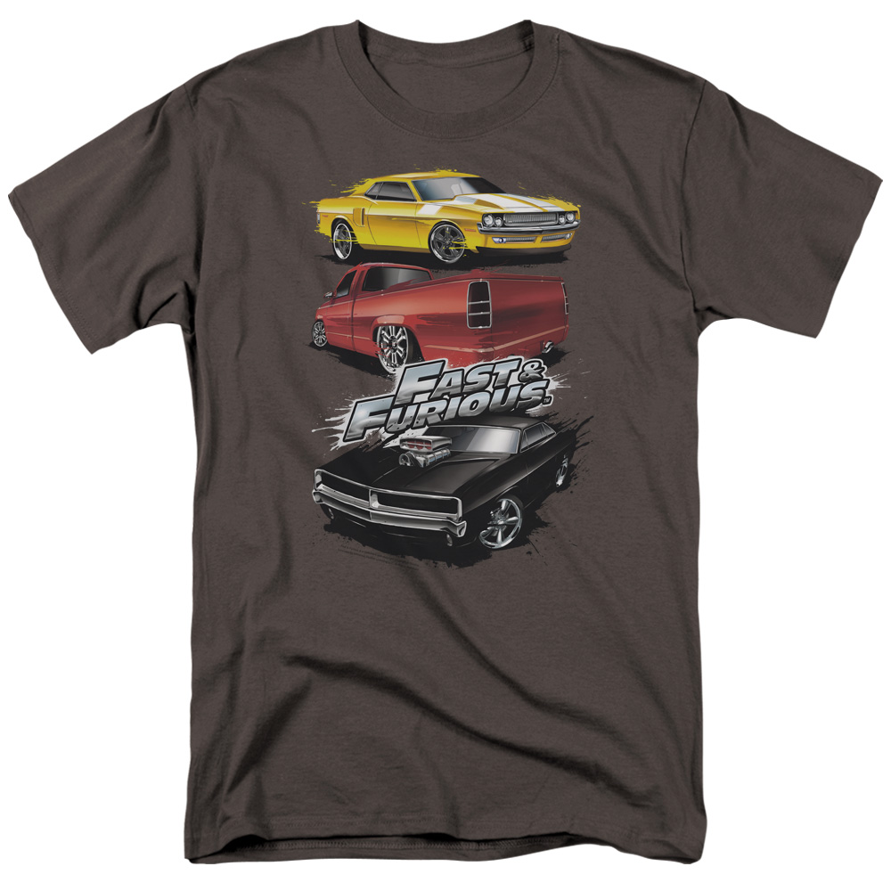 The Fast and the Furious Muscle Car Splatter Mens Short Sleeve Shirt