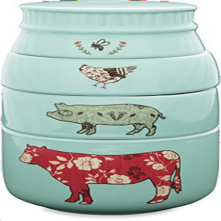 Pavilion Gift Company 23130 Live Simply Bee Chicken Pig And Cow Measuring Cups  Teal