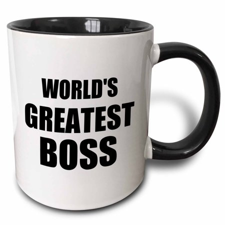 3dRose Worlds Greatest Boss. black text. great design for the best boss ever - Two Tone Black Mug, 11-ounce