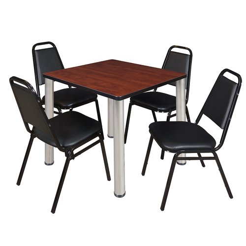 "Kee 36"" Square Breakroom Table- Cherry/ Chrome & 4 Restaurant Stack Chairs- Black"