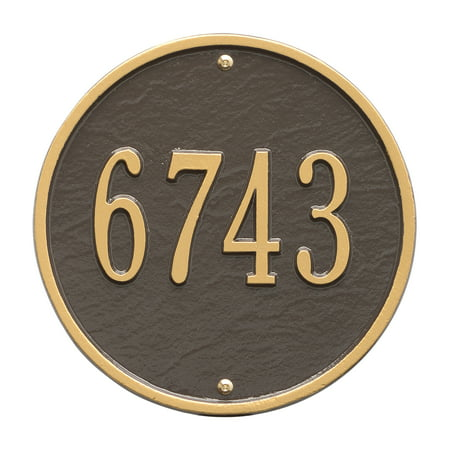 Personalized Whitehall Products 9-Inch Standard One Line Round Wall Address Plaque in Bronze/Gold