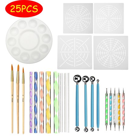 Moaere 25Pcs Mandala Dotting Tools Rock Painting Kits Dot Nail Art Pen Paint