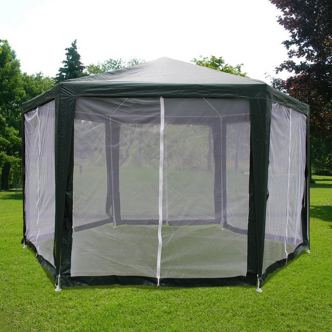 Quictent Outdoor Canopy Gazebo Party Wedding tent Screen House Sun Shade Shelter with Fully Enclosed Mesh Side Wall (6'x6'x6', Green)