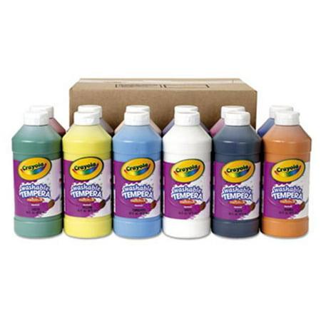 Crayola 548216 16 oz Washable Paint Bottle, Assorted - 12 per Set