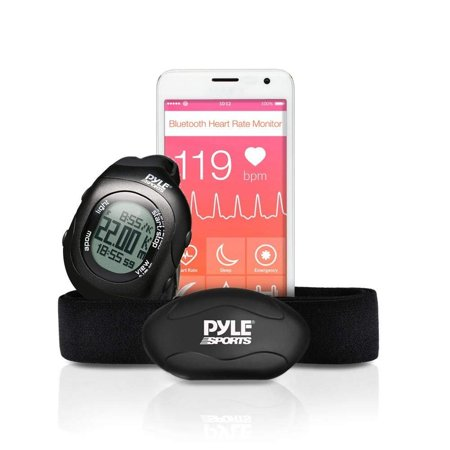 Upgraded Version Pyle Fitness Heart Rate Monitor with Digital Wrist Watch & Chest Strap | Wireless Bluetooth | Measures Speed, Distance, Countdown & Lap Times for Walking, Running, Jogging,