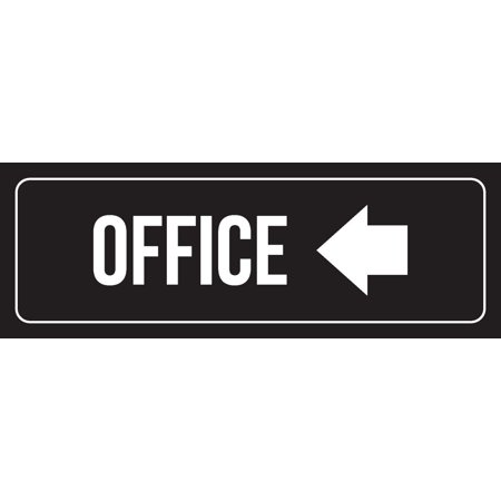 Black Background With White Font Office Left Arrow Outdoor & Indoor Office Metal Wall Sign, 3x9 Inch
