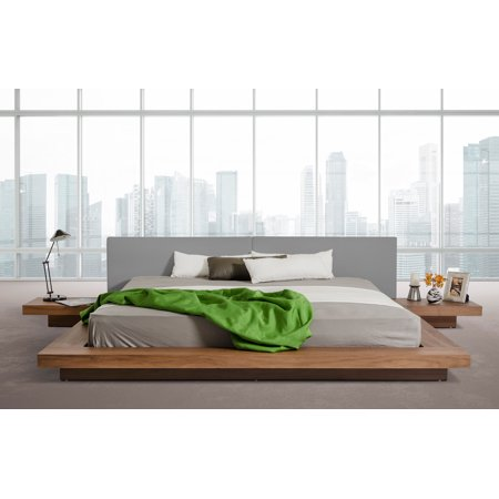 Modrest Opal Modern Low Profile Walnut And Grey Leatherette Queen Platform Bed
