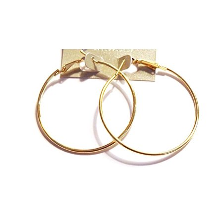 Thin Gold Hoop Earrings Classic 2 inch Hoop Earrings