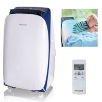Honeywell HL12CESWB 12,000 BTU 115V Portable Air Conditioner for Rooms Up To 550 Sq. Ft. with Dehumidifier & Fan, White/Blue