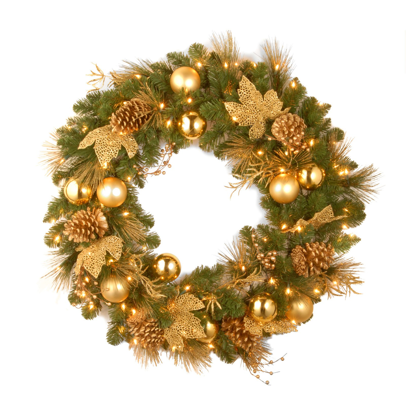 """National Tree Pre-Lit 36"""" Decorative Collection Elegance Wreath with 100 Clear Lights"""
