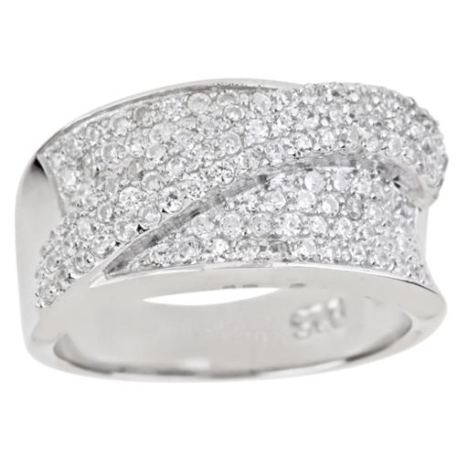 Decadence  Sterling Silver Micropave Cubic Zirconia Crossover Ring