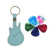 Suzicca Leather Guitar Picks Holder Case Bag Guitar Shape with Key Ring 5pcs Celluloid Guitar Picks String Instrument Accessories