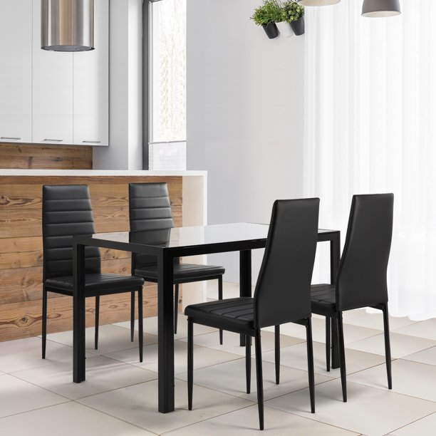 enyopro Dining Table with 4 High-back Upholstered Chairs, Modern Dinette Set, Dining Table & Chairs Set for 4 Persons, Small Home Kitchen Dining Table Set, Ideal for Apartment Breakfast Nook, B1455