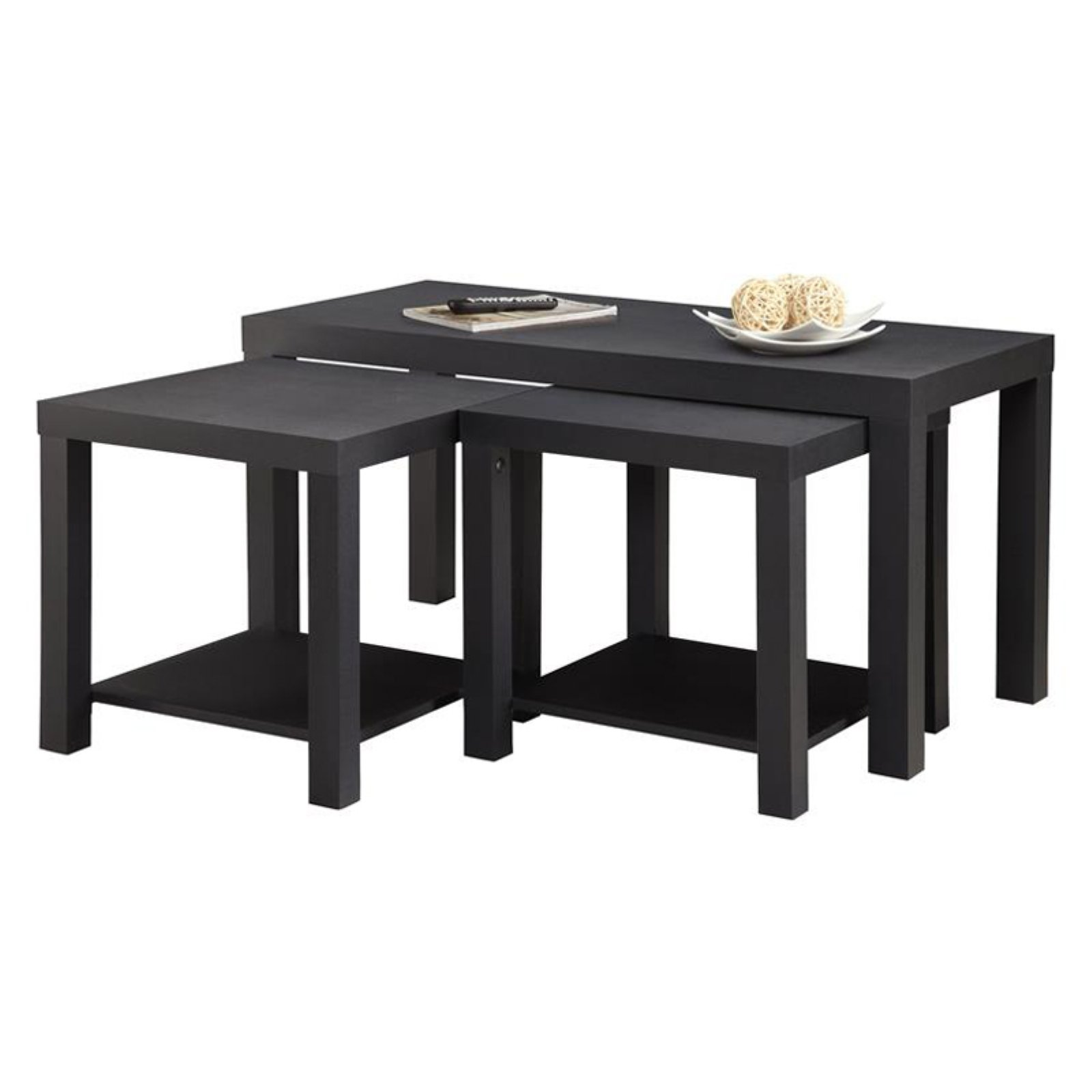 Ameriwood Home Holly Bay Coffee Table and End Table Set, Black by Ameriwood Home