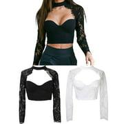 Women Long Sleeve Lace Floral Flore Shirt Crop Top Sexy Blouse Top Black