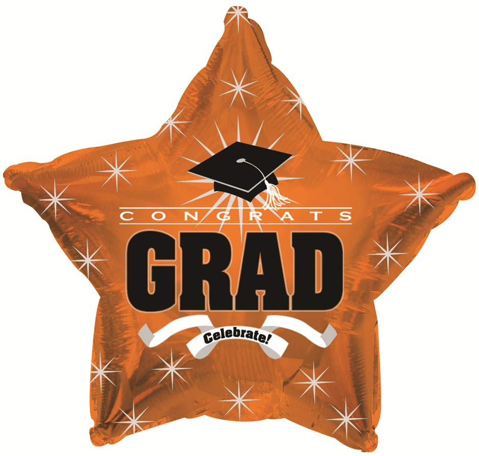 Graduation Cap 17in Mylar Balloon Orange (1/pkg) Pkg/1