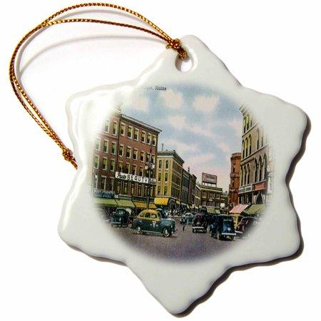 Party Shop Bangor (3dRose Market Square, Bangor Maine Street Scene with Antique Cars, Snowflake Ornament, Porcelain,)
