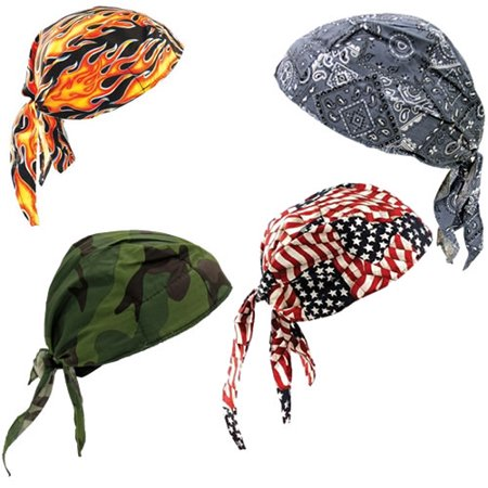 One Size Fits All Assorted Colors Tuff Nougies+ Deluxe Tie Hat (Doo Rag) With Elastic Rear Band per 12 EA