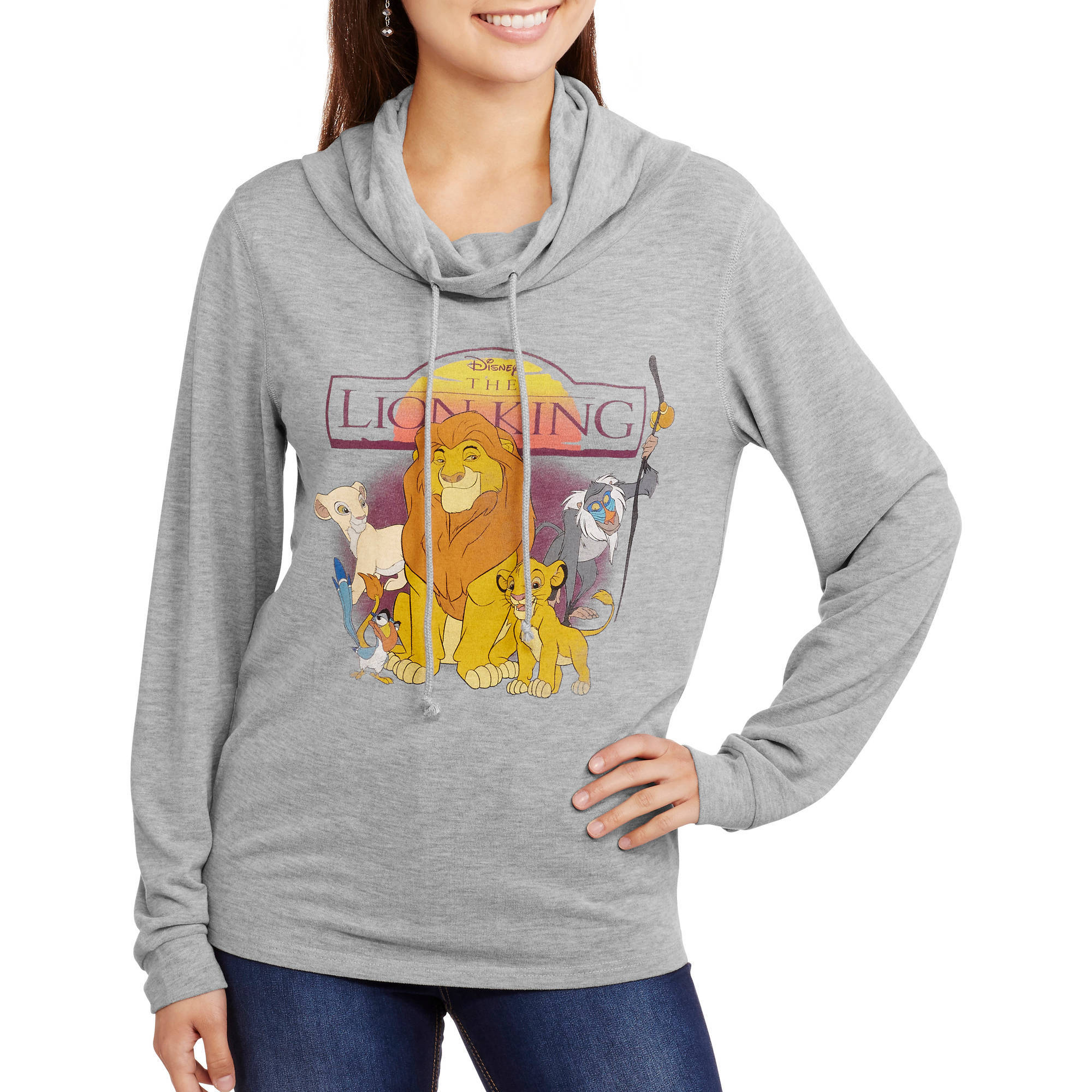 Juniors' Graphic Cowl Neck Pullover Sweatshirt