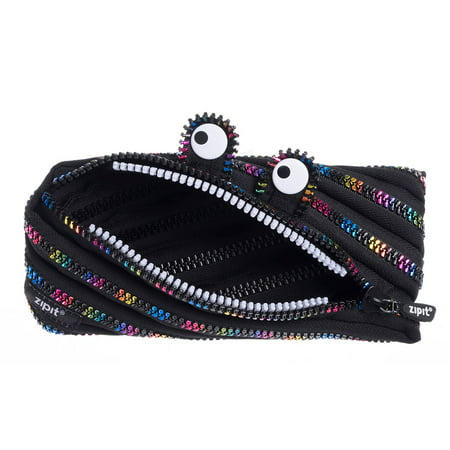 ZIPIT Monster Pencil Case, Large Capacity, One Long Zipper (Black and Rainbow)