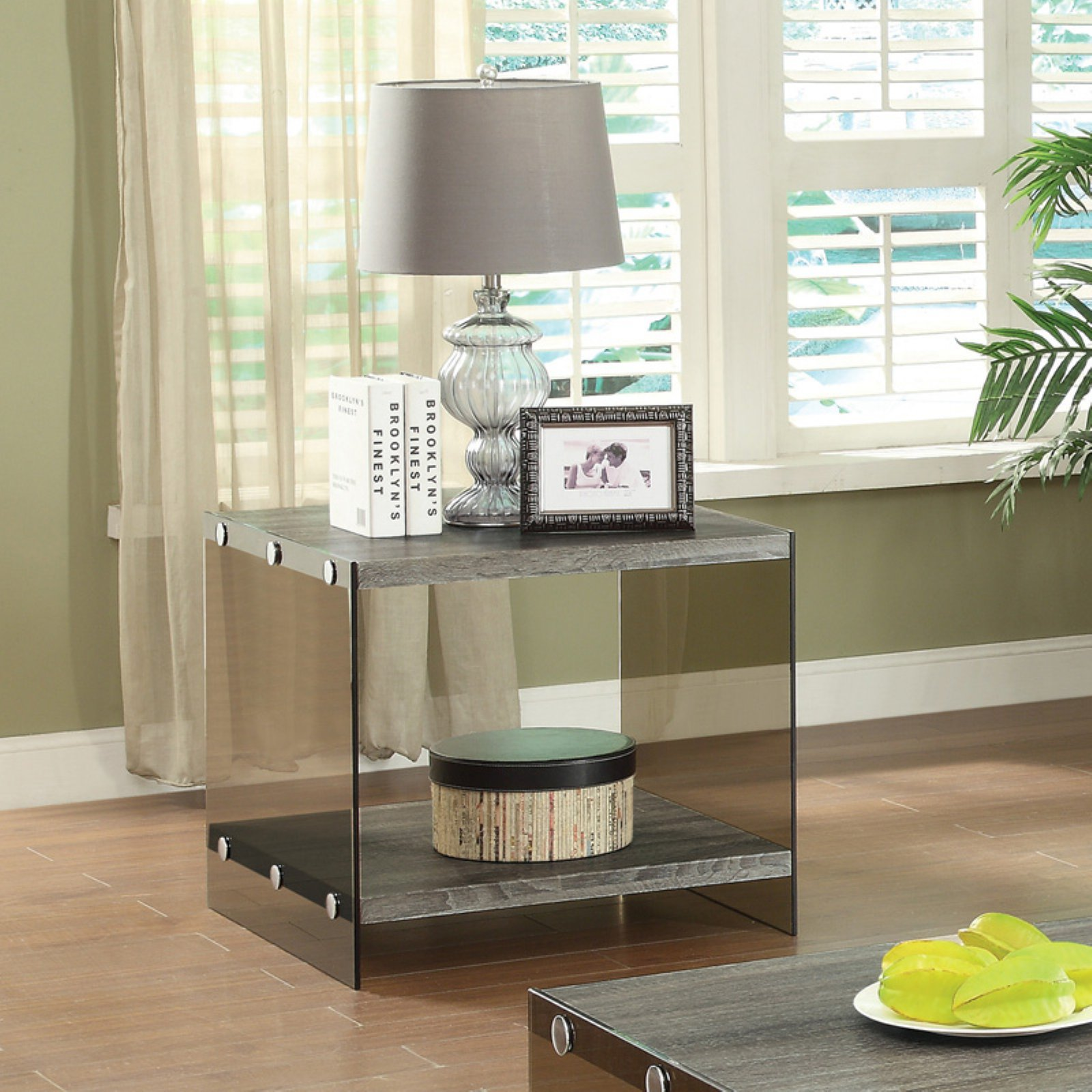 Coaster Contemporary End Table, Grey Finish