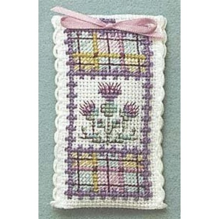 Textile Heritage Lavender Sachet Counted Cross Stitch Kit - Tartan (Thistle Embroidery)