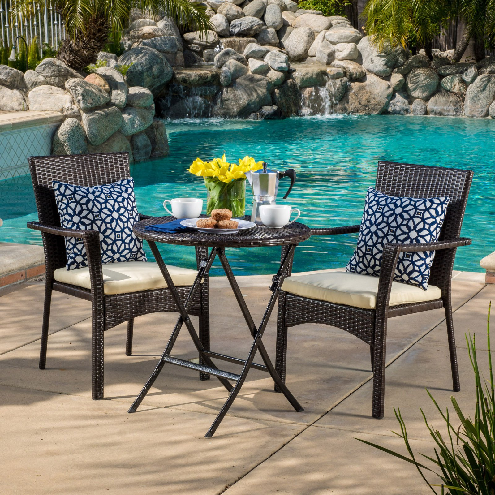 Margaret Wicker 3-Piece Round Outdoor Bistro Set