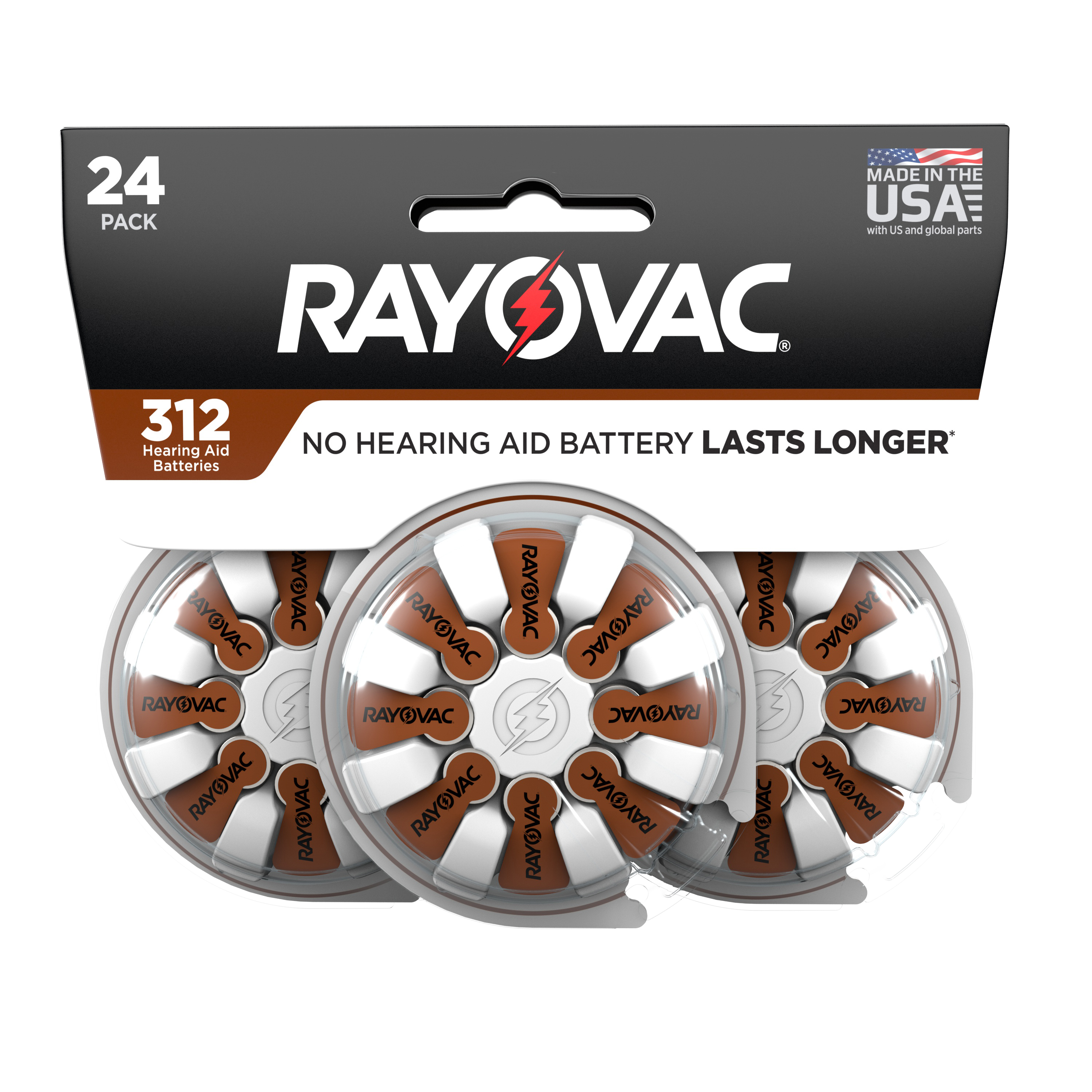 Rayovac Size 312 Hearing Aid Batteries, 24-Pack 312-24