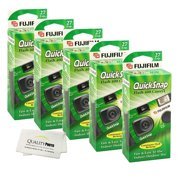 Fujifilm QuickSnap Flash 400 Disposable 35mm Camera (5 Pack)+ Quality Photo Microfiber Cloth