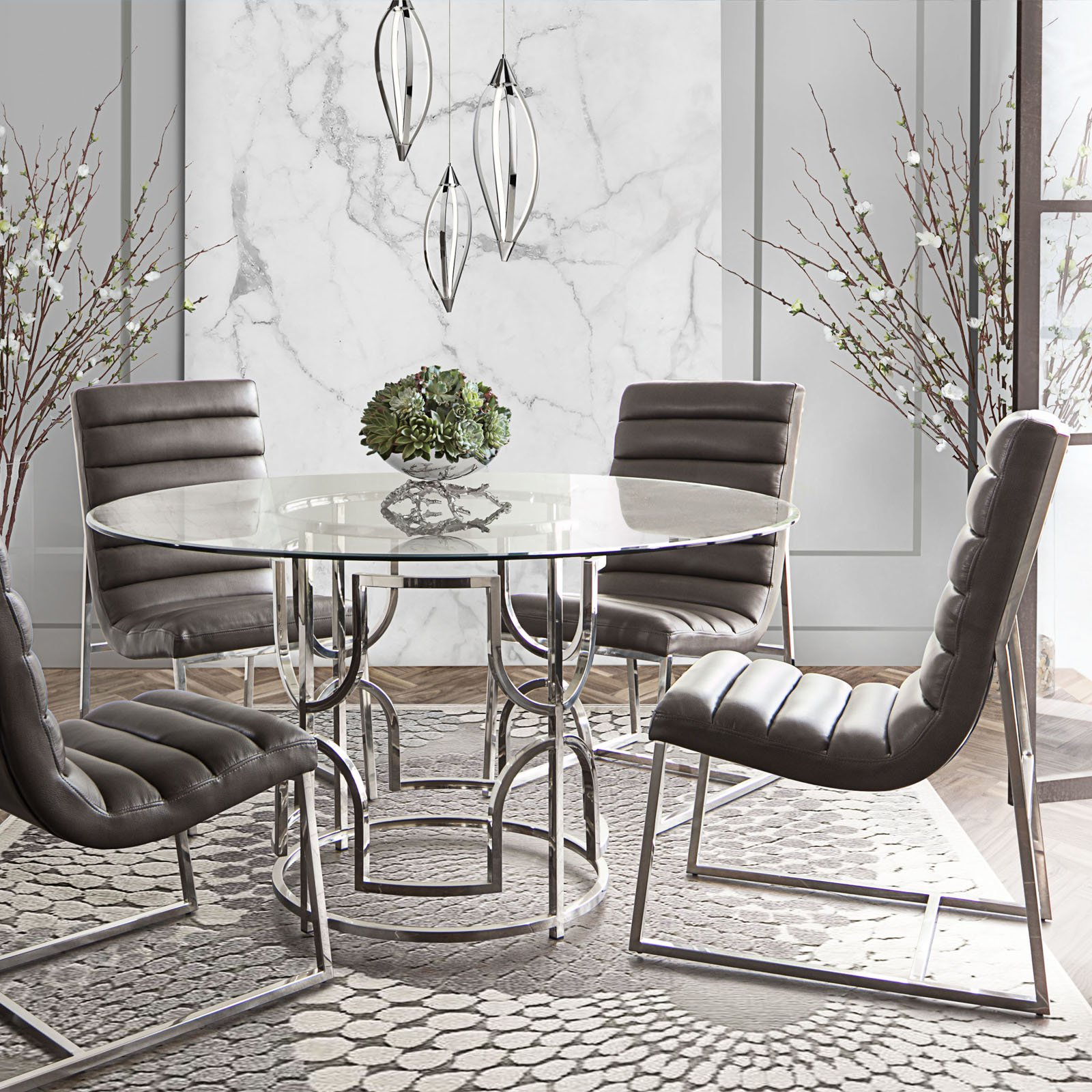 Diamond Sofa Avalon 54 in. Round Glass Dining Table