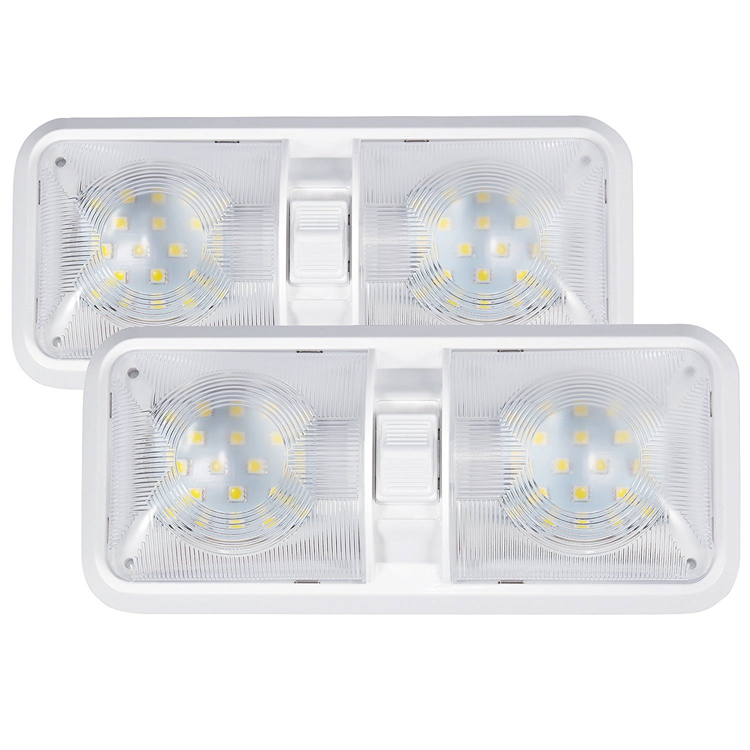 Kohree 2 Pack 12V Led RV Ceiling Dome Light Bulbs RV Interior Lighting for Trailer Camper with Switch White