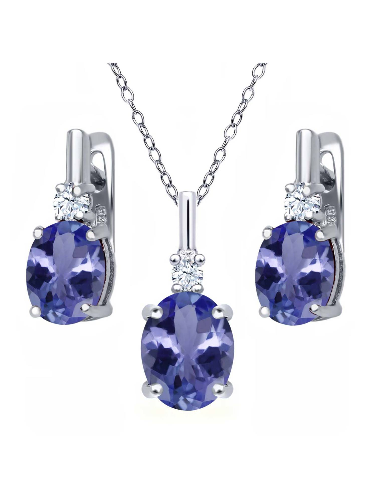 5.18 Ct Blue Tanzanite AAA White Topaz 925 Sterling Silver Pendant Earrings Set by