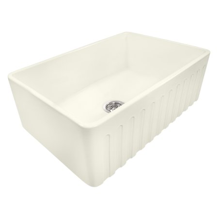Ruvati 30 x 20 inch Fireclay Reversible Farmhouse Apron-Front Kitchen Sink Single Bowl - Biscuit - RVL2100BS