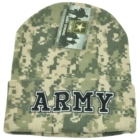 US Army Strong United States Cuffed Digital Camo Knit Military Beanie Winter Hat (Ohio State Beanie Womens)