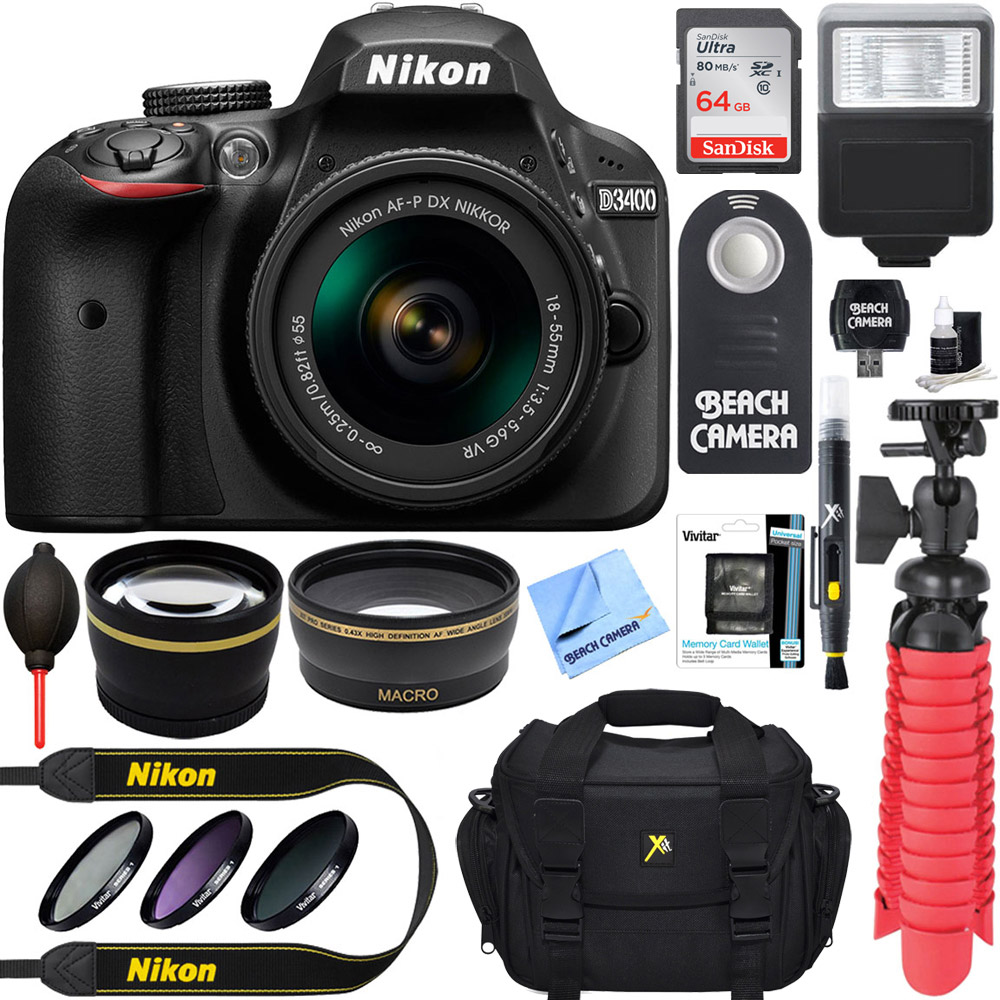 Nikon D3400 24.2 MP DSLR Camera AF-P DX 18-55mm VR NIKKOR Lens Kit Accessory Bundle 64GB SDXC Memory SLR Photo Bag Wide Angle Lens 2x Telephoto Lens Flash Remote Tripod Filters Black SLR Camera
